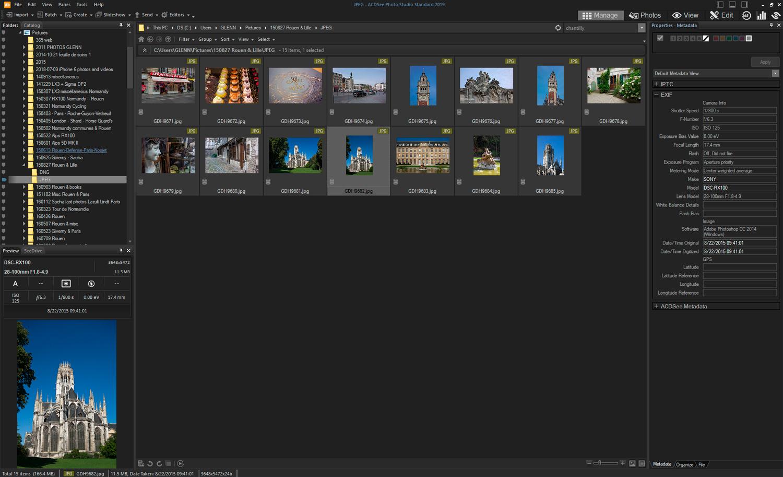 ACDSee Photo Studio Standard 2019 - default layout