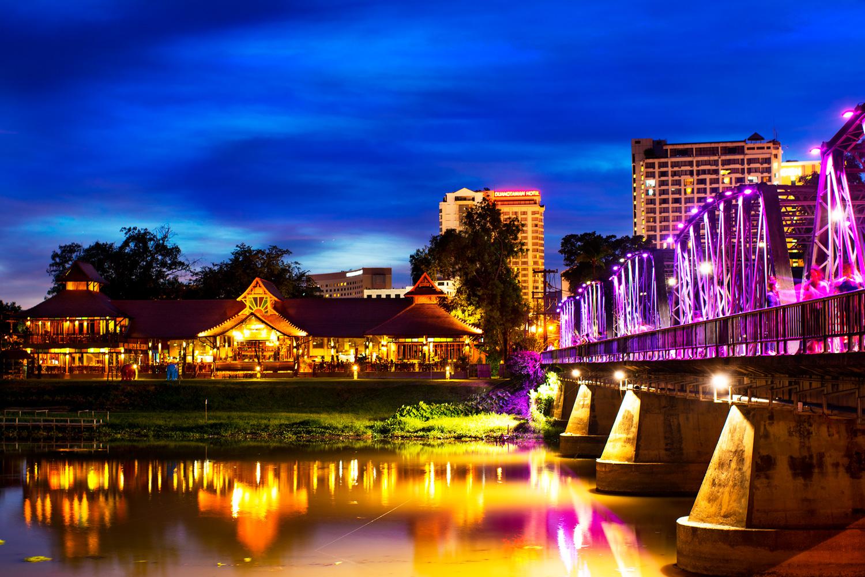 Understanding Exposure Metering Modes Iron Bridge at Night, Chiang Mai, Thailand