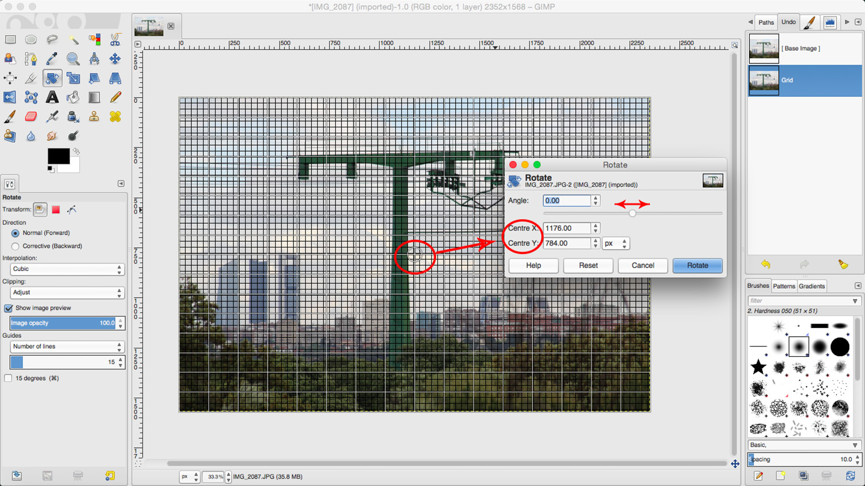 Basic Photo Retouching in Gimp. Rotate Tool