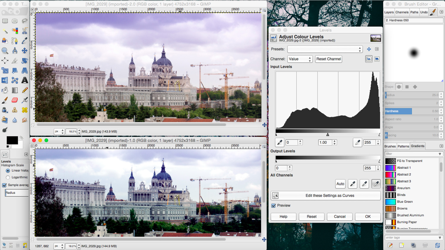 Introduction to GIMP. Side by side comparison using multiple windows.