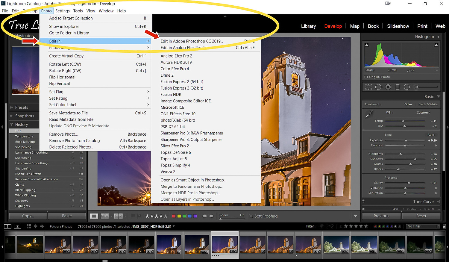 Image: How to send an image from Lightroom to Photoshop for editing. You can also send multiple imag...