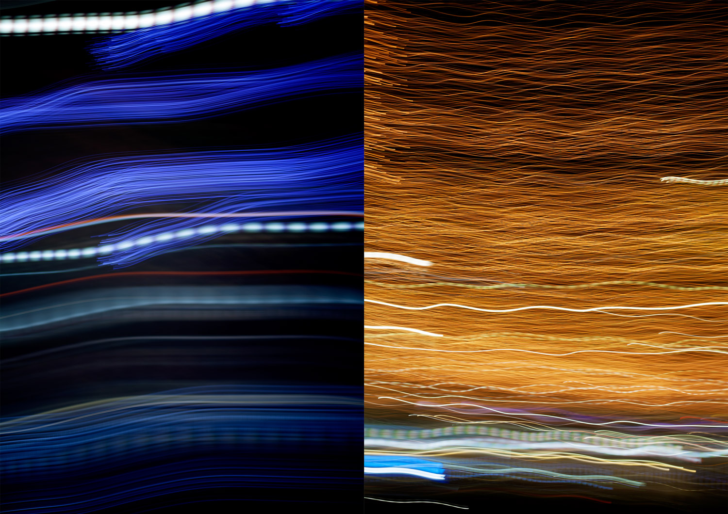 Image: Two examples of camera swinging. Different light sources make varying light trails.
