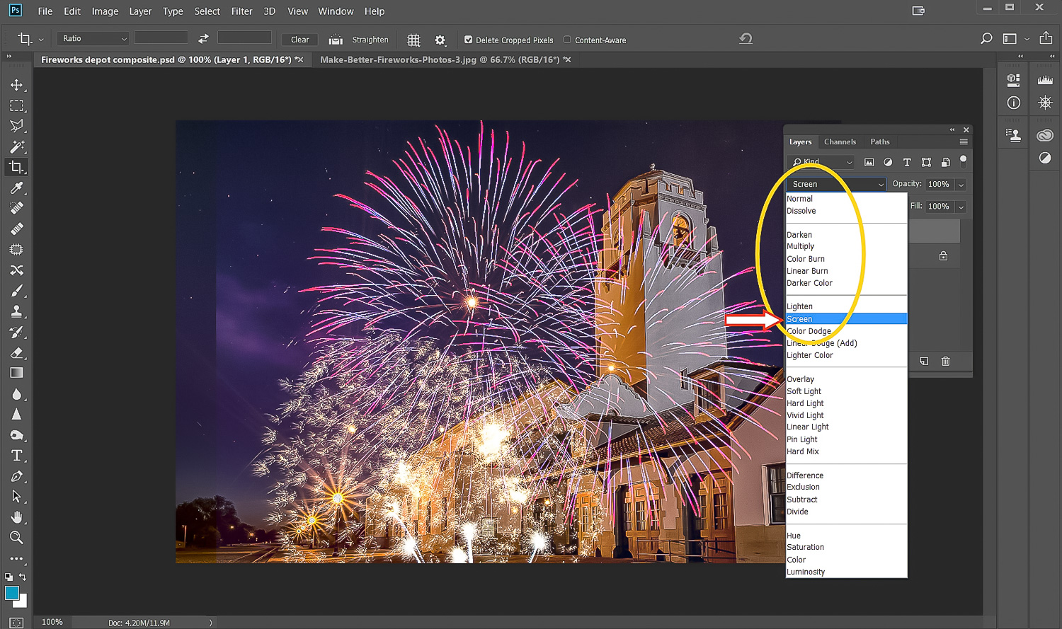 Image: Use the Screen blending mode and the black in the fireworks photo will become transparent sho...