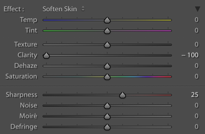 Image: The Soften Skin brush preset in Lightroom is just a combination of -100 Clarity and +25 Sharp...