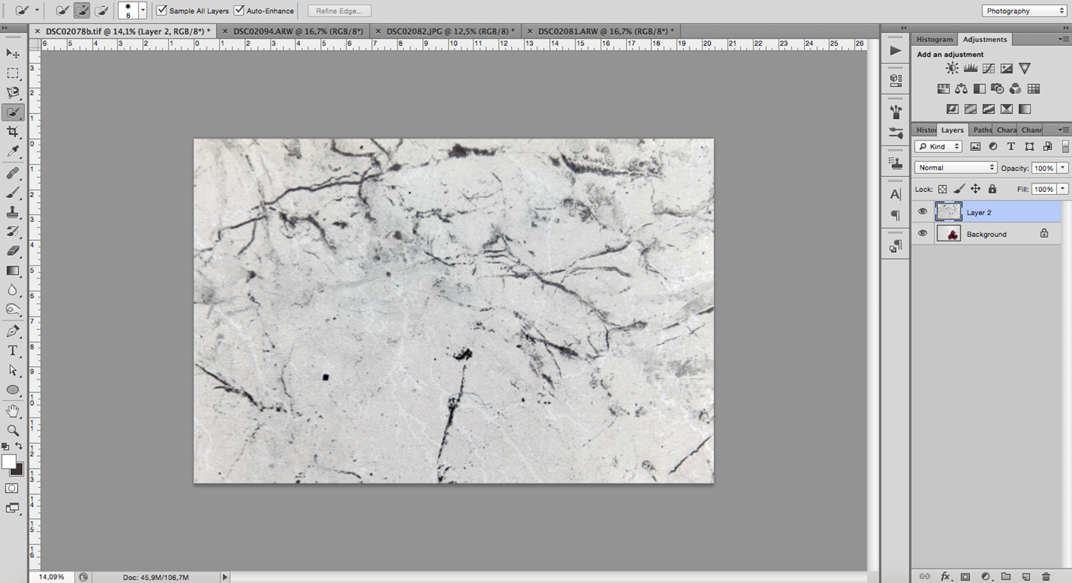 Place or paste a texture in Photoshop to use as a new background in your food photography