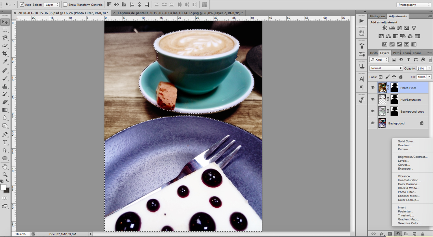 Image: Photoshop has many adjustment layers to choose how you want to turn your background into food ...