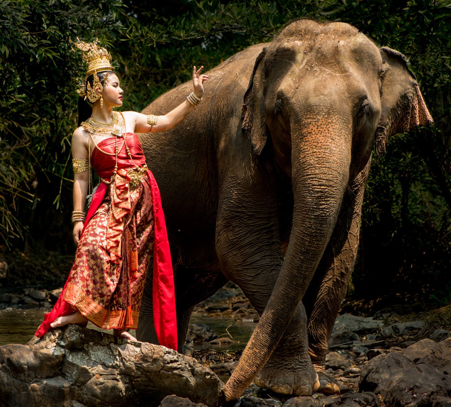 Thai Model and Elephant