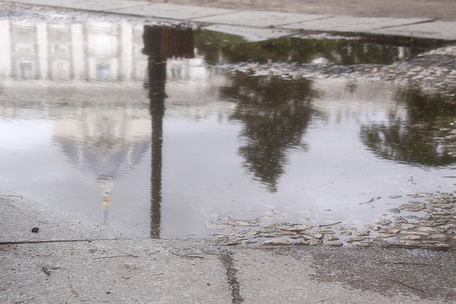 Look for water reflection for bad weather conditions