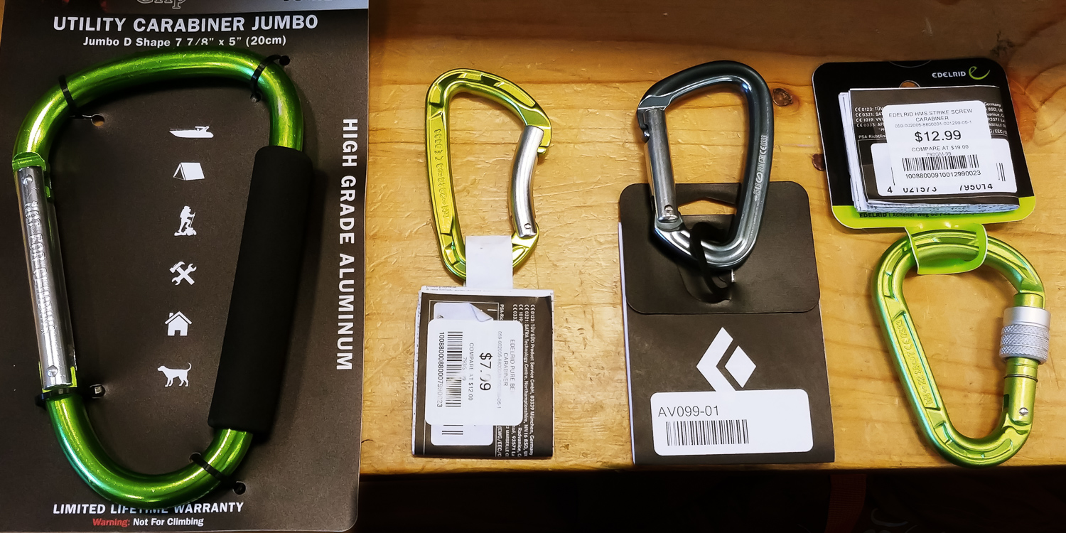 Image: The huge almost 8-inch carabiner on the left might have some good photo applications like car...