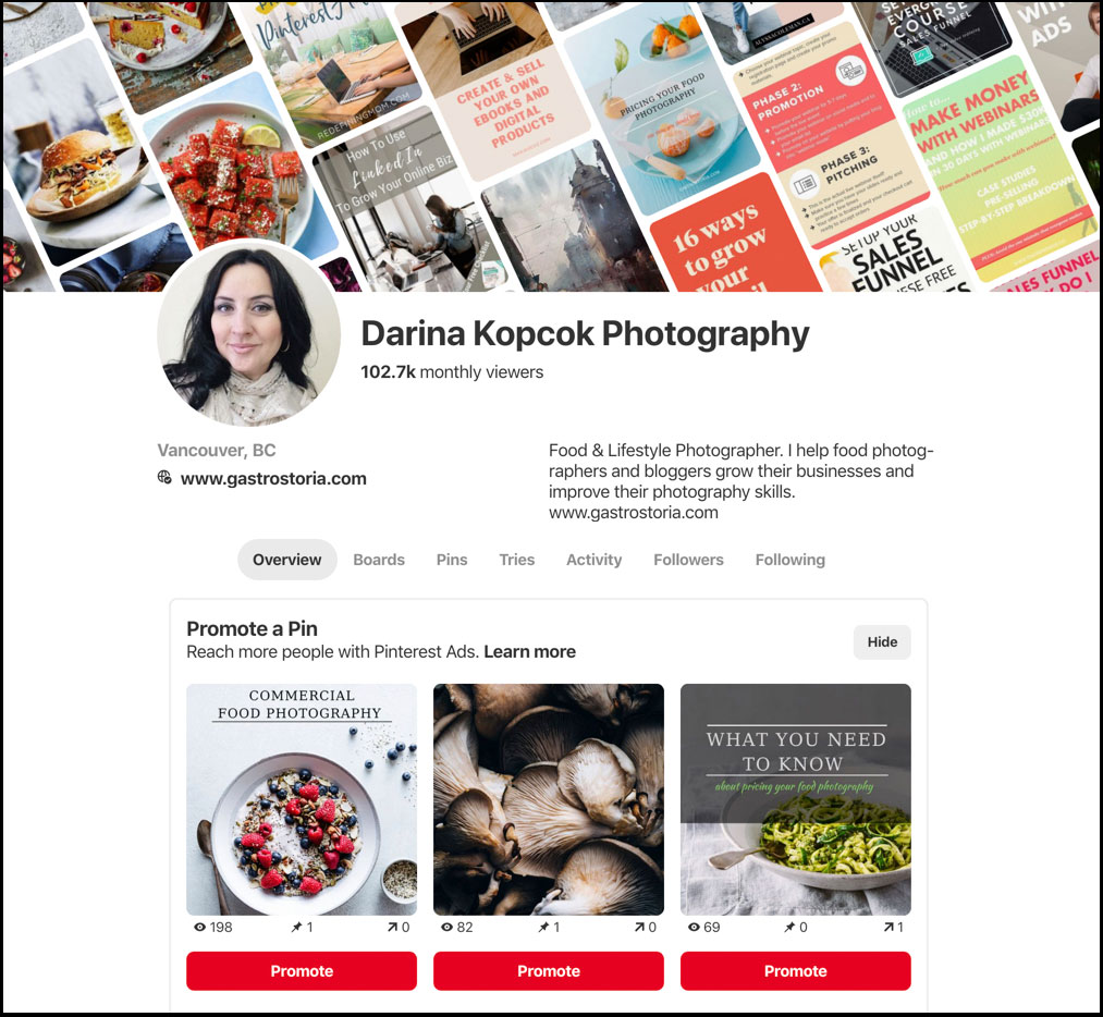 pinterest photography business profile page