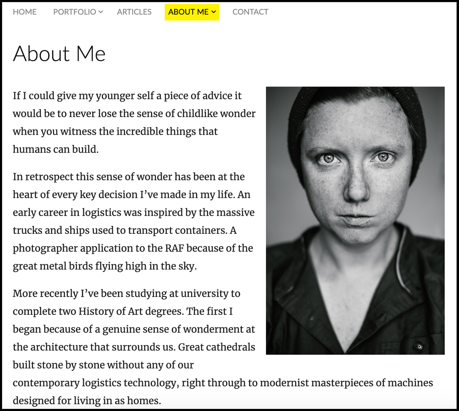 "Image: The ""about me"" page on my portfolio website showing my self-portrait in relation..."