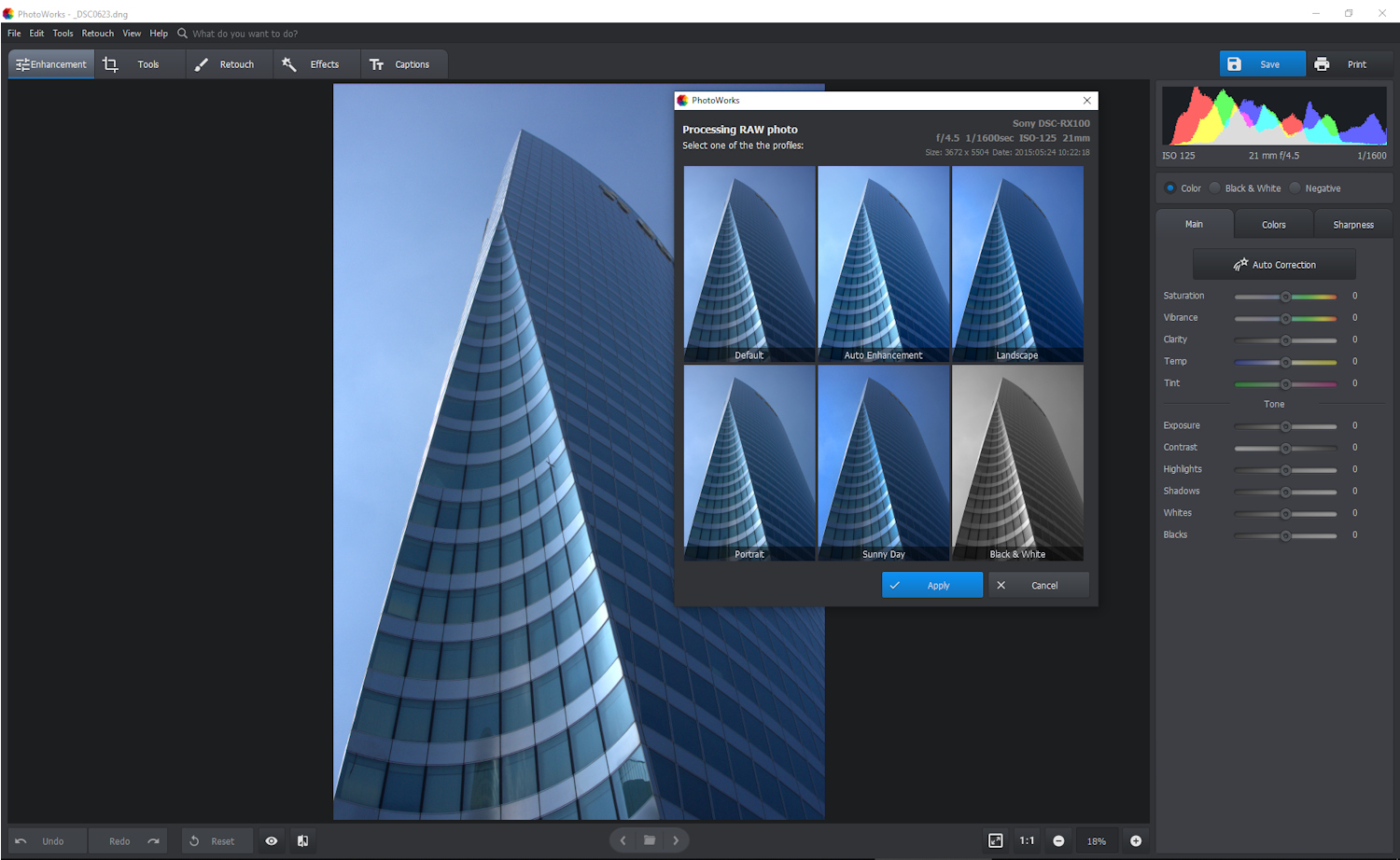 photoworks-photo-editor-for-pc - raw conversion