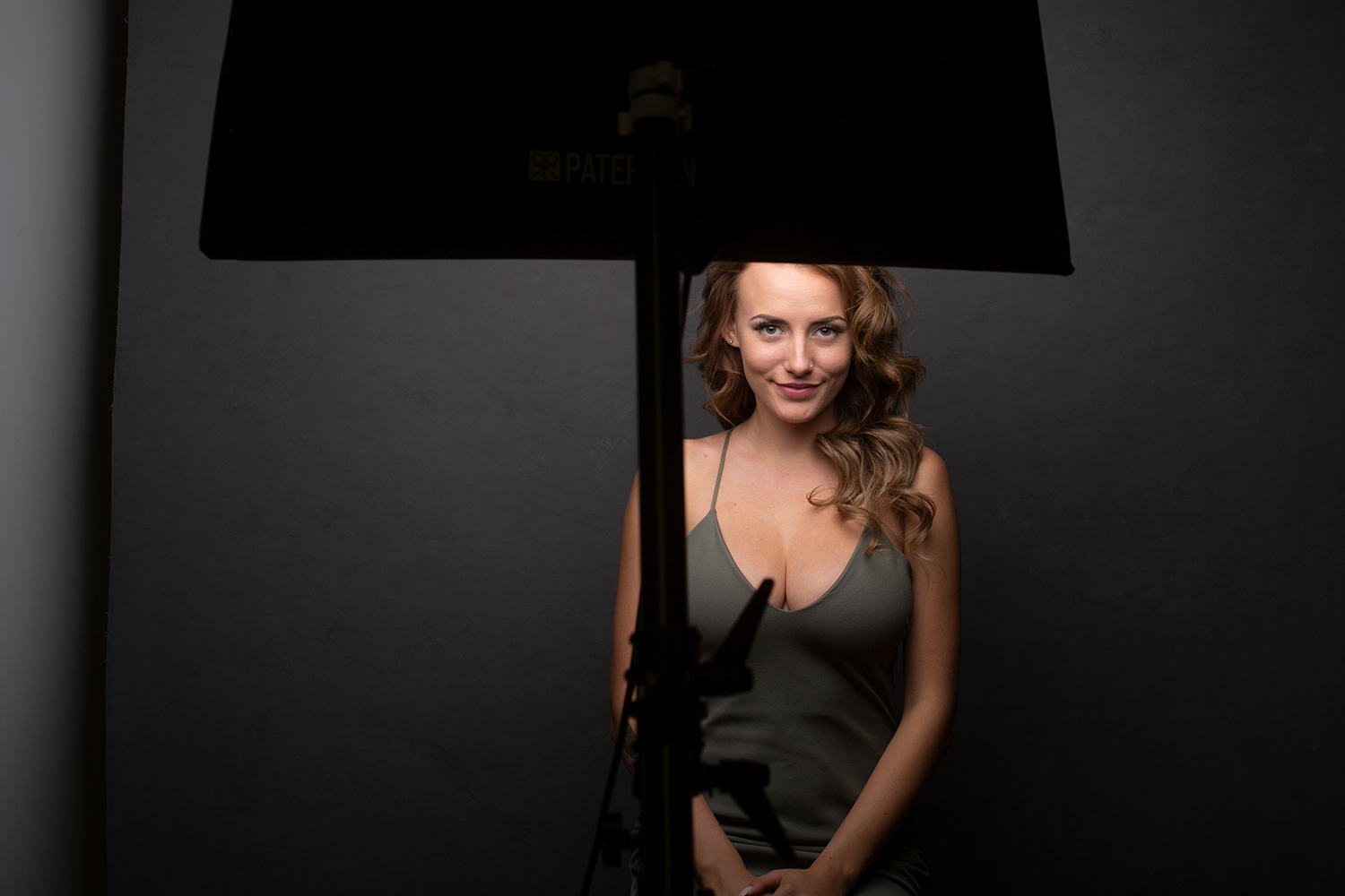 Image: A small(ish) softbox placed in front of and above the subject creates soft light with shadows...
