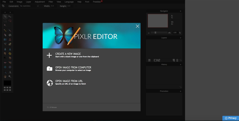 interface, homepage, photo editor