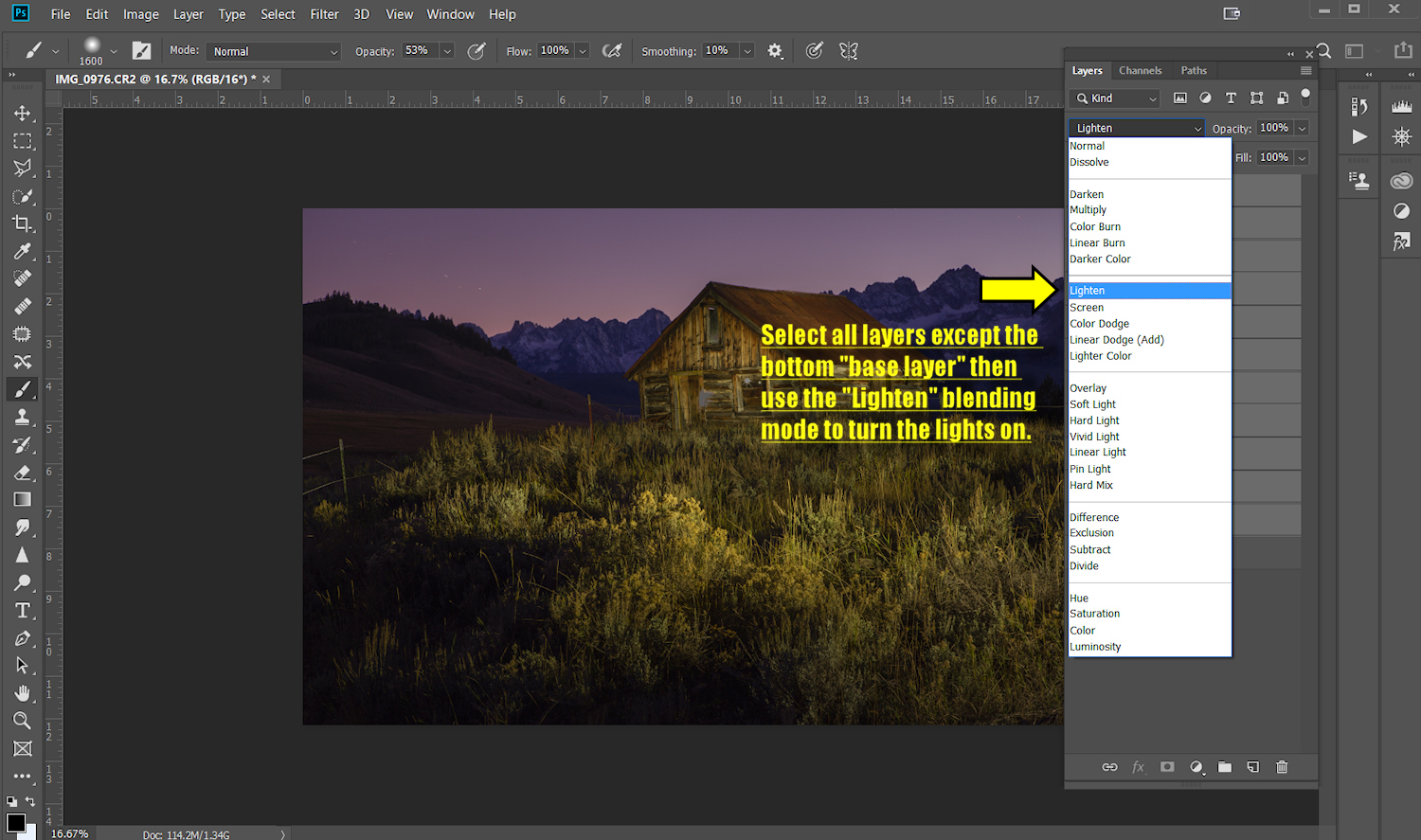 "Image: Selecting the layers and then applying the ""Lighten"" blending mode will turn the..."
