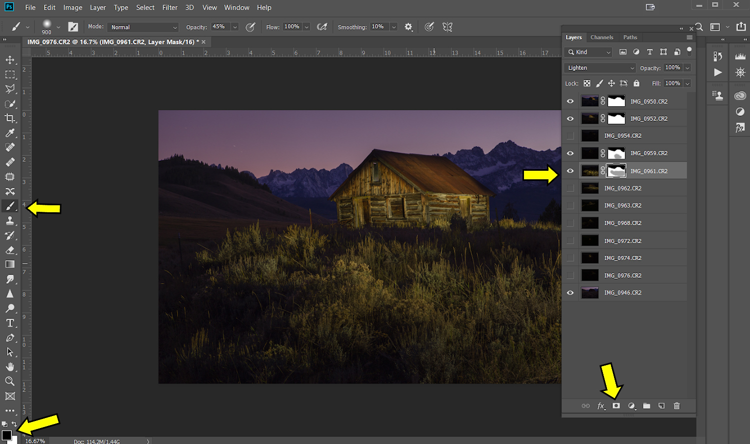 Image: Work a layer at a time using masking layers and a brush set to black to rub out pieces you do...