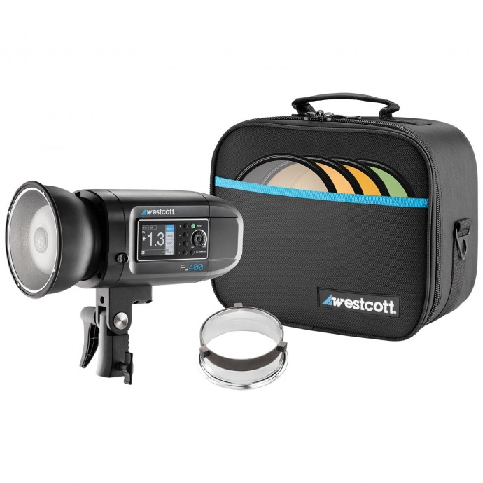 westcott-fj400-strobe-Wescott FJ400 flash with bag and filters