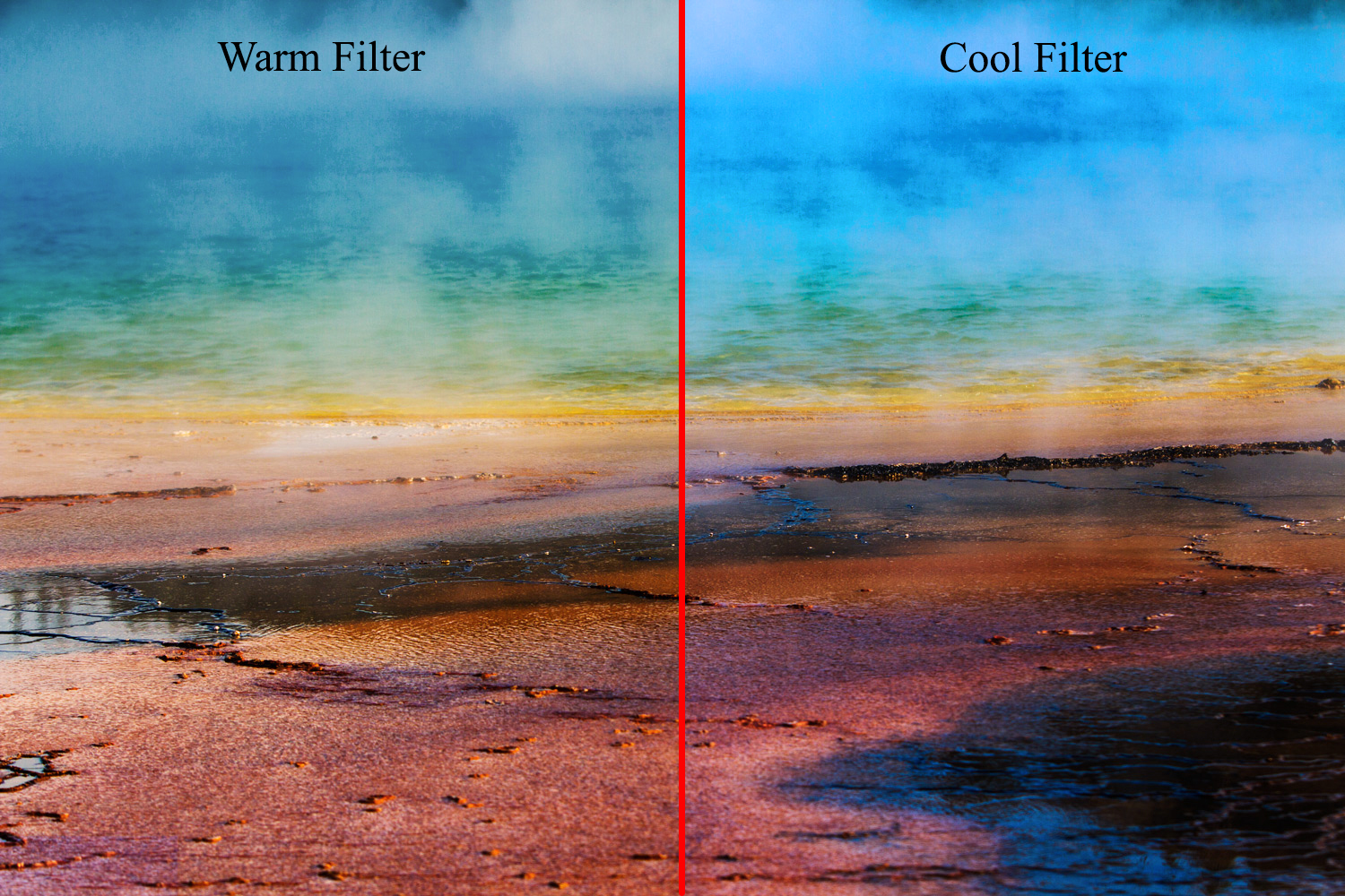 Image: Warm (oranges) and Cool (Blues) Photo filters applied to the image above