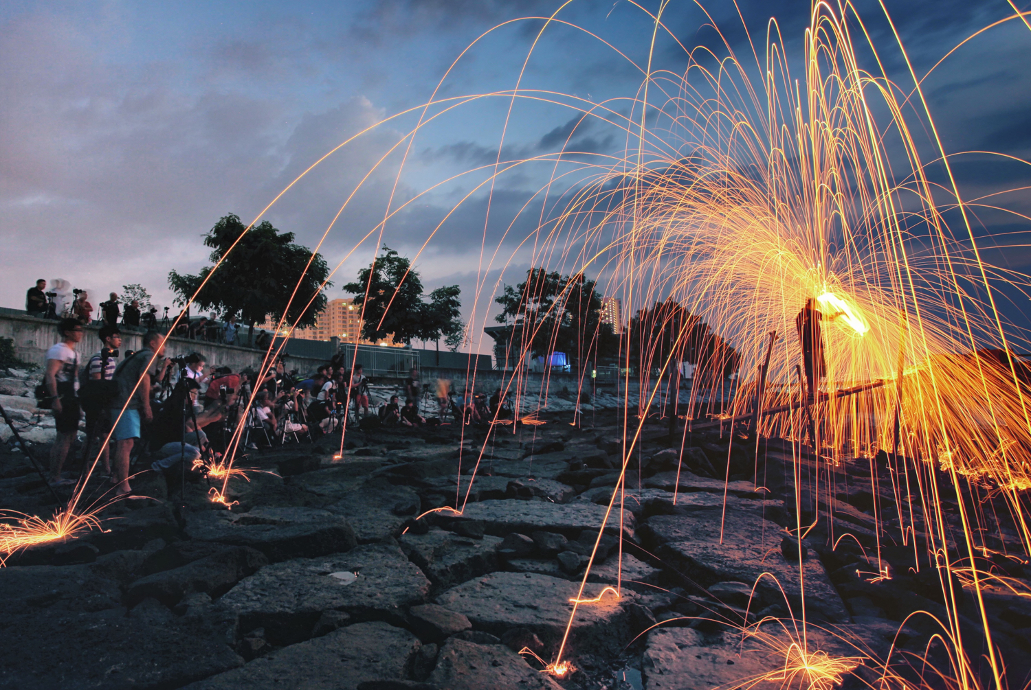 Image: In this photo, a group of photographers take part in a wire wool workshop.