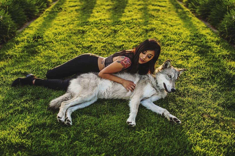 Image: Models: Carrie Martinez with Nova the wolfdog