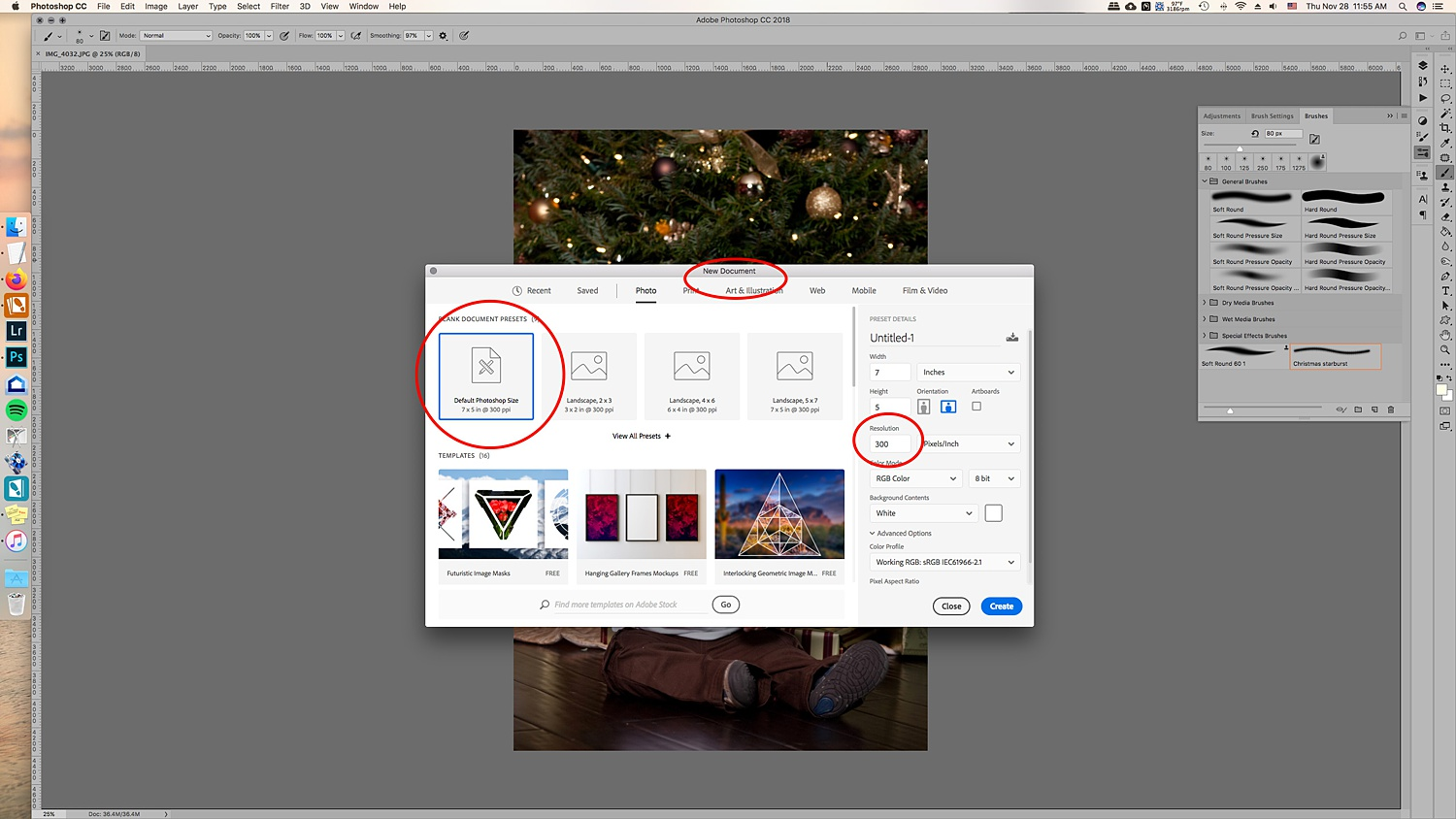 Image: Create a new document. It doesn't have to be large since you'll end up with a bru...