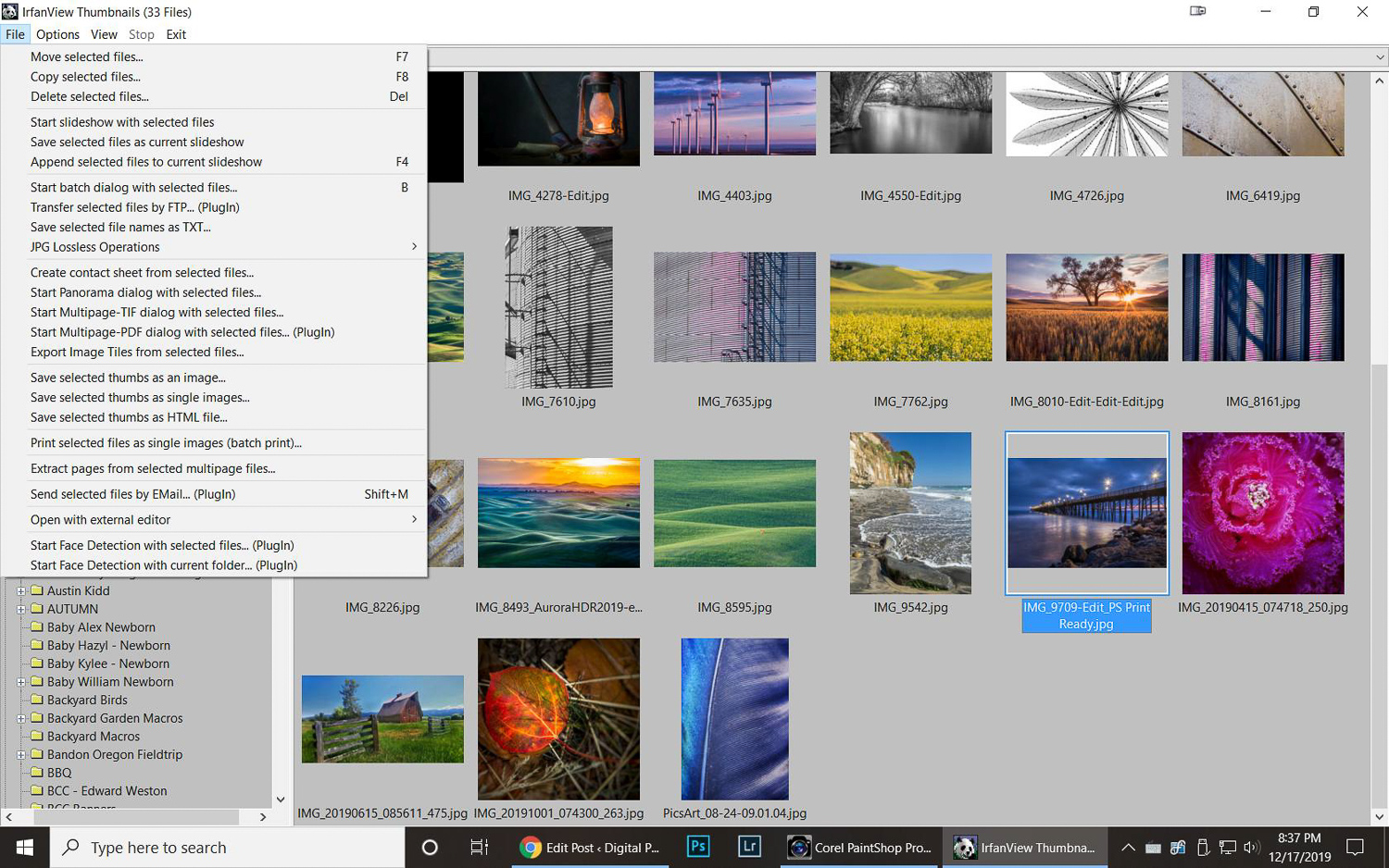 The Thumbnails menu is Irfanview gives you many ways to look at your image files in a folder.
