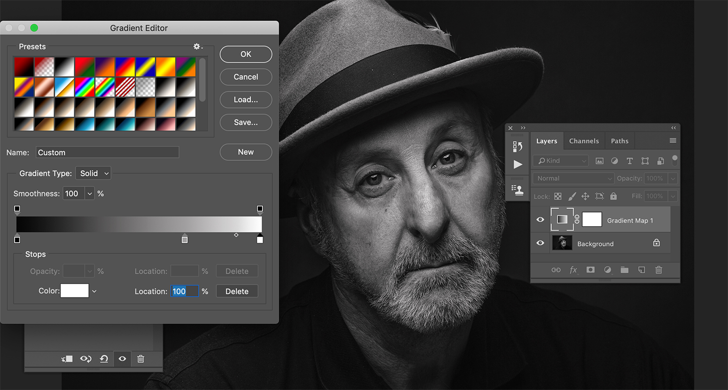 Gradient map in processing black and white images.