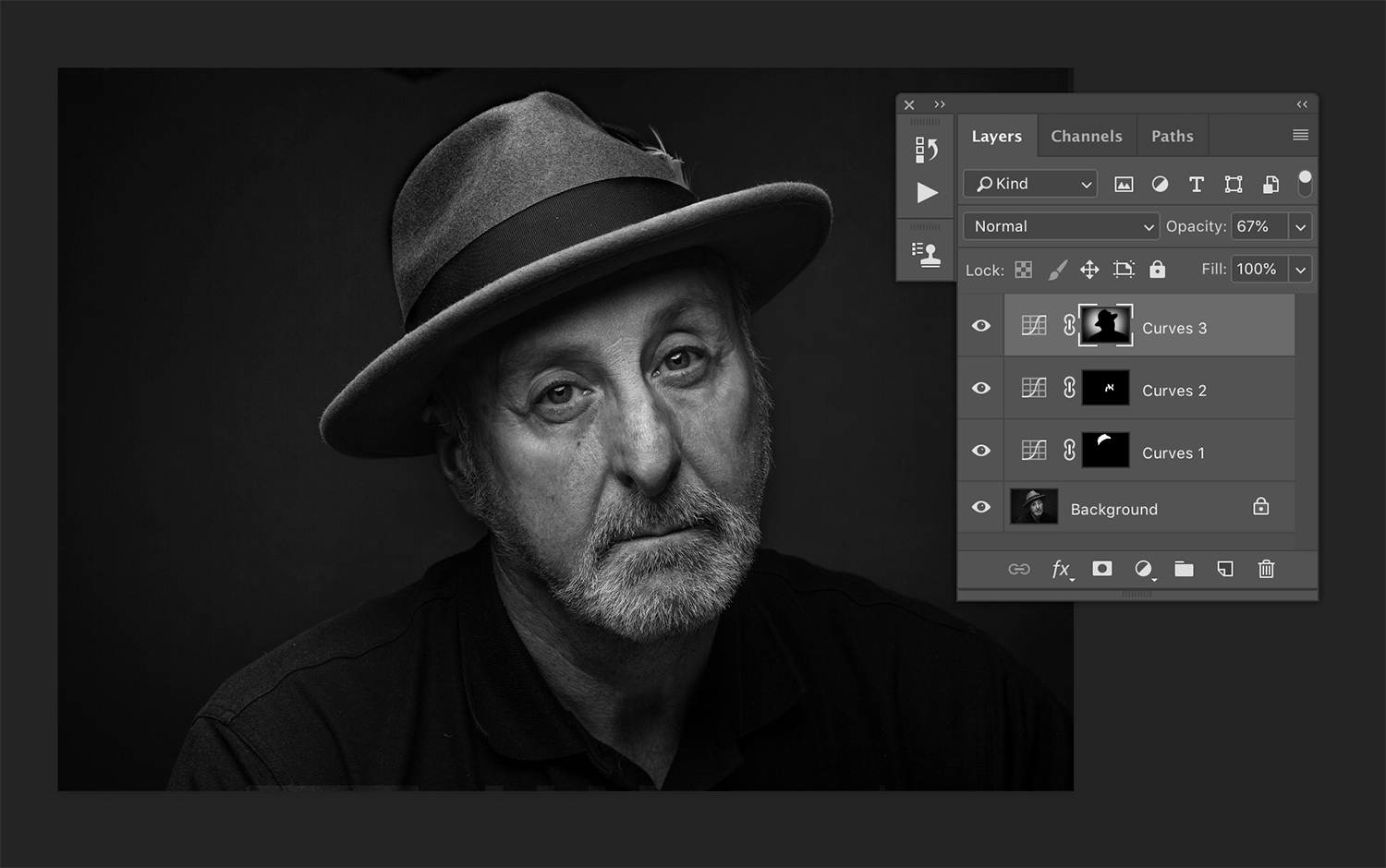 Using layer masks in processing black and white images.