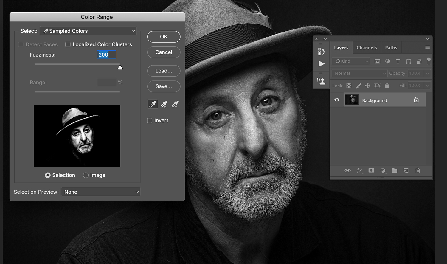 Select color range tool in processing black and white images.