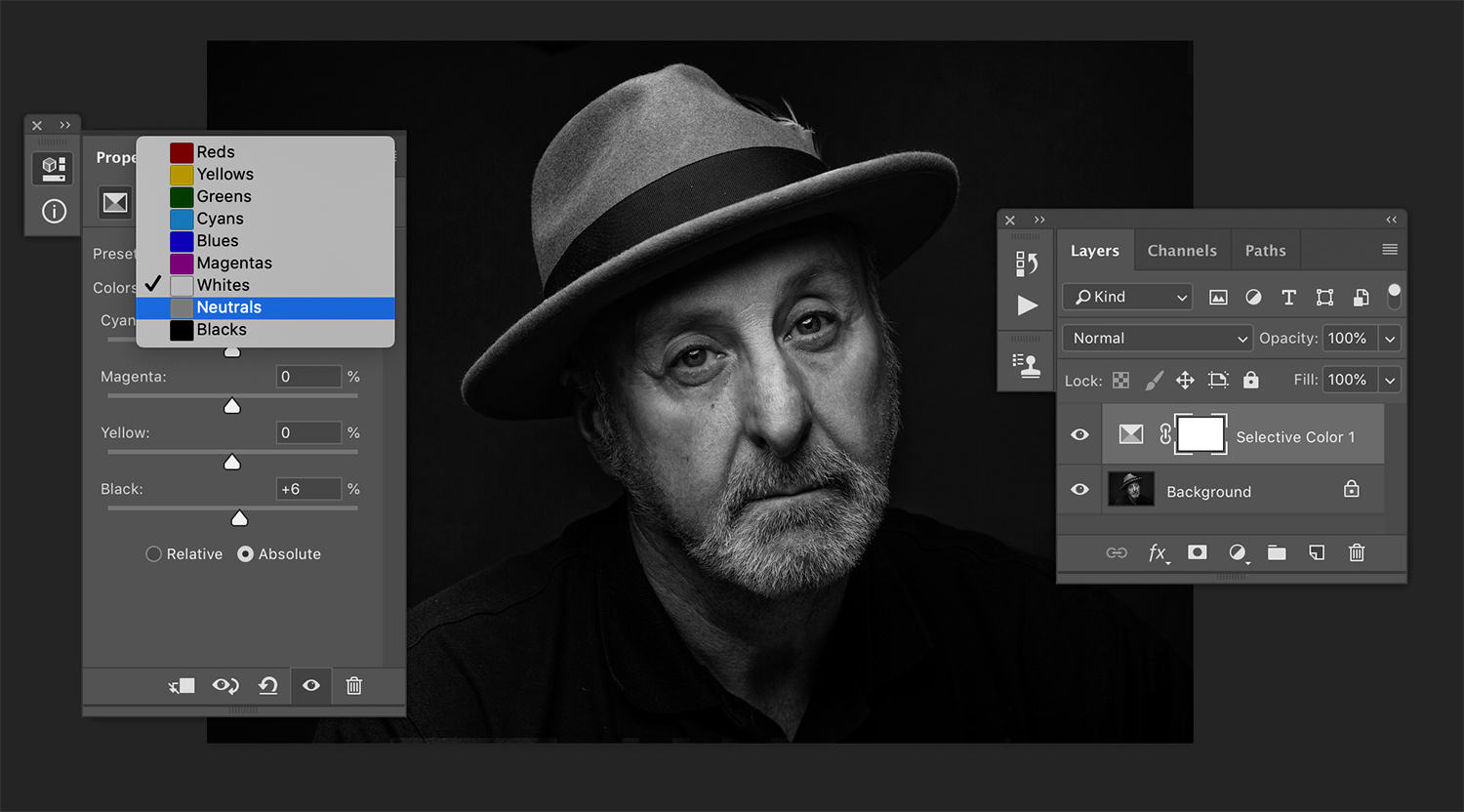 Selective color in processing black and white images.