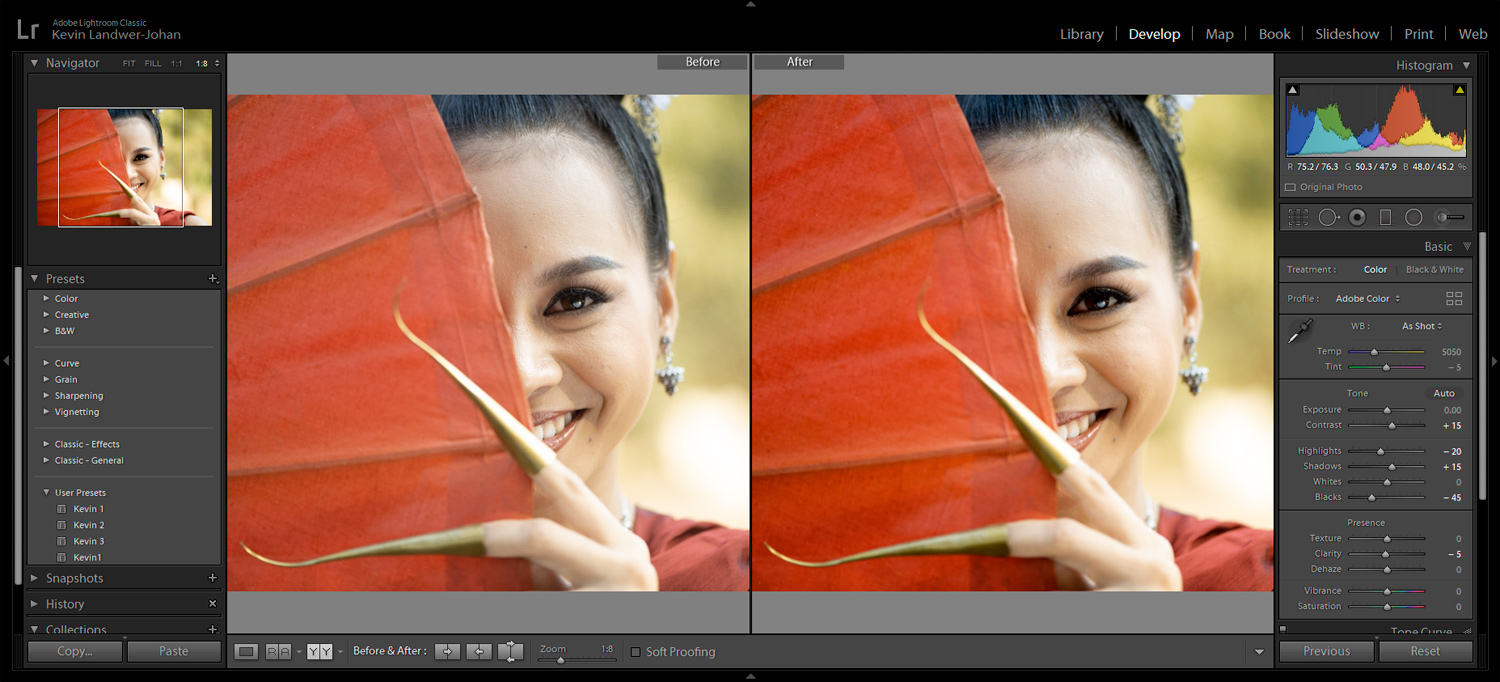 Before and After Viewing images in Lightroom