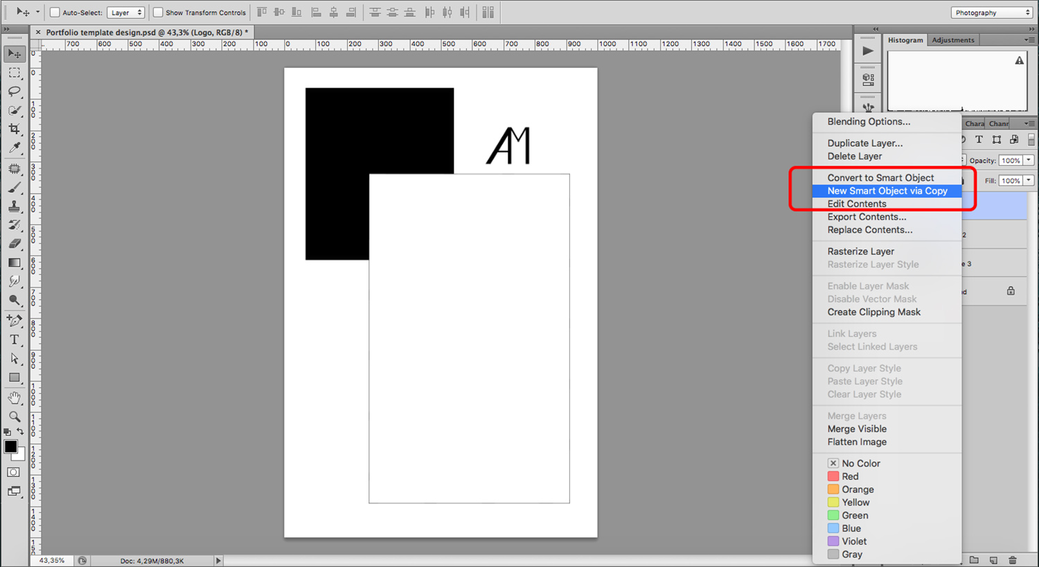 Create a portfolio template with logo