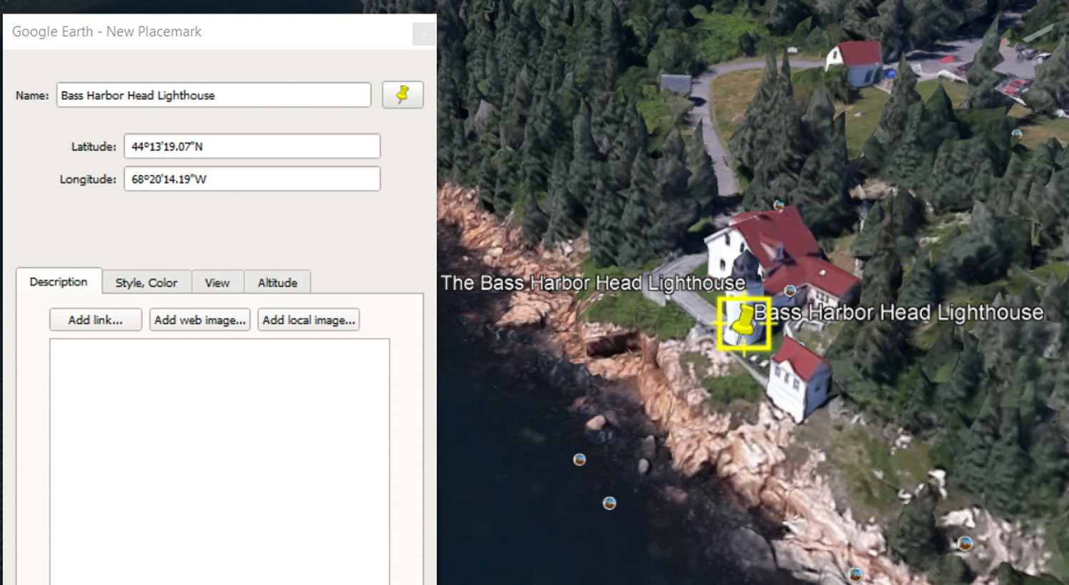 Bass Harbor Head Lighthouse in Google Earth