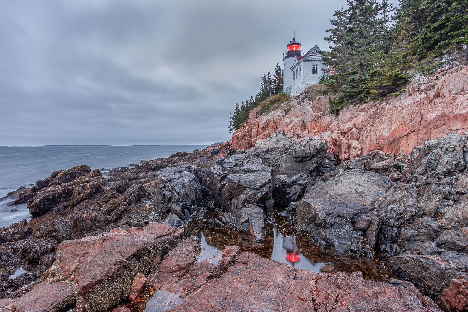 Cyber-Scouting Photo Locations - Bass Harbor Lighthouse on a cloudy day
