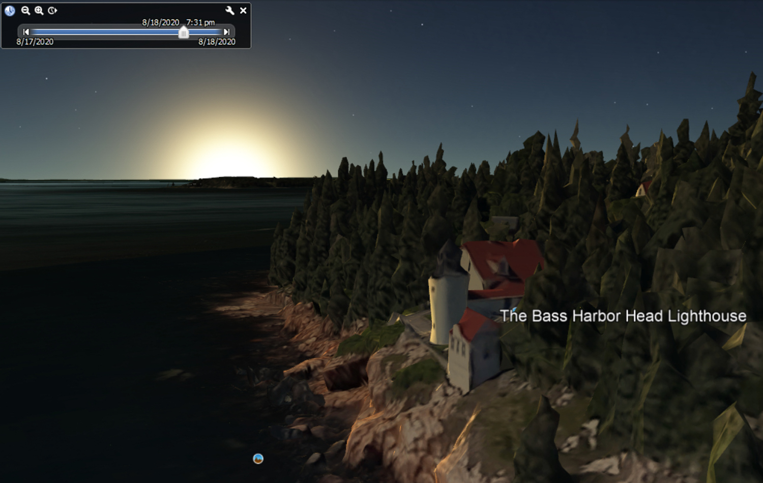 Bass Harbor Lighthouse Summer Sunset - Google Earth
