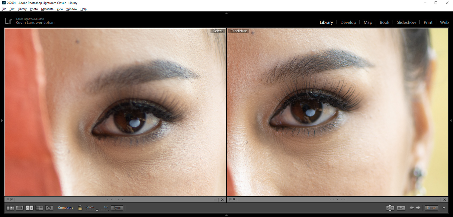 Compare viewing images in Lightroom