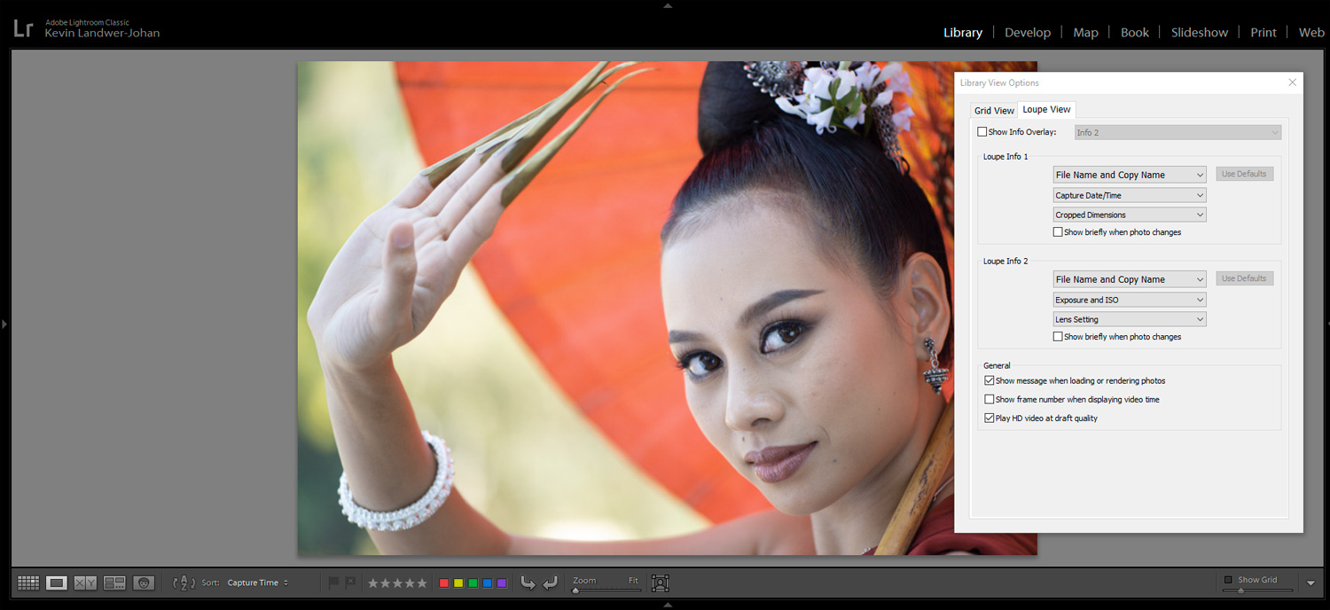 options for viewing images in Lightroom