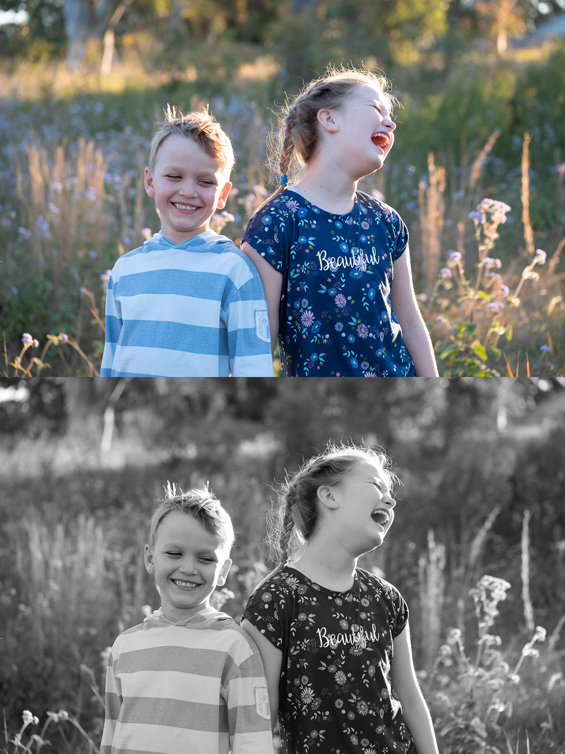 Image: Top: Kids in a filed RAW file. Bottom: Acros JPG.