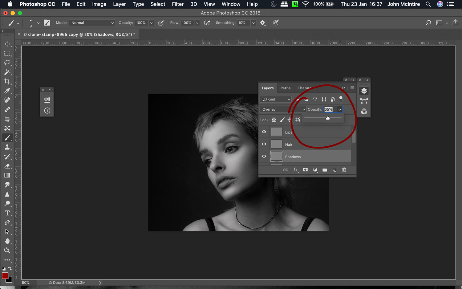 Using dodging and burning for skin retouching in Photoshop