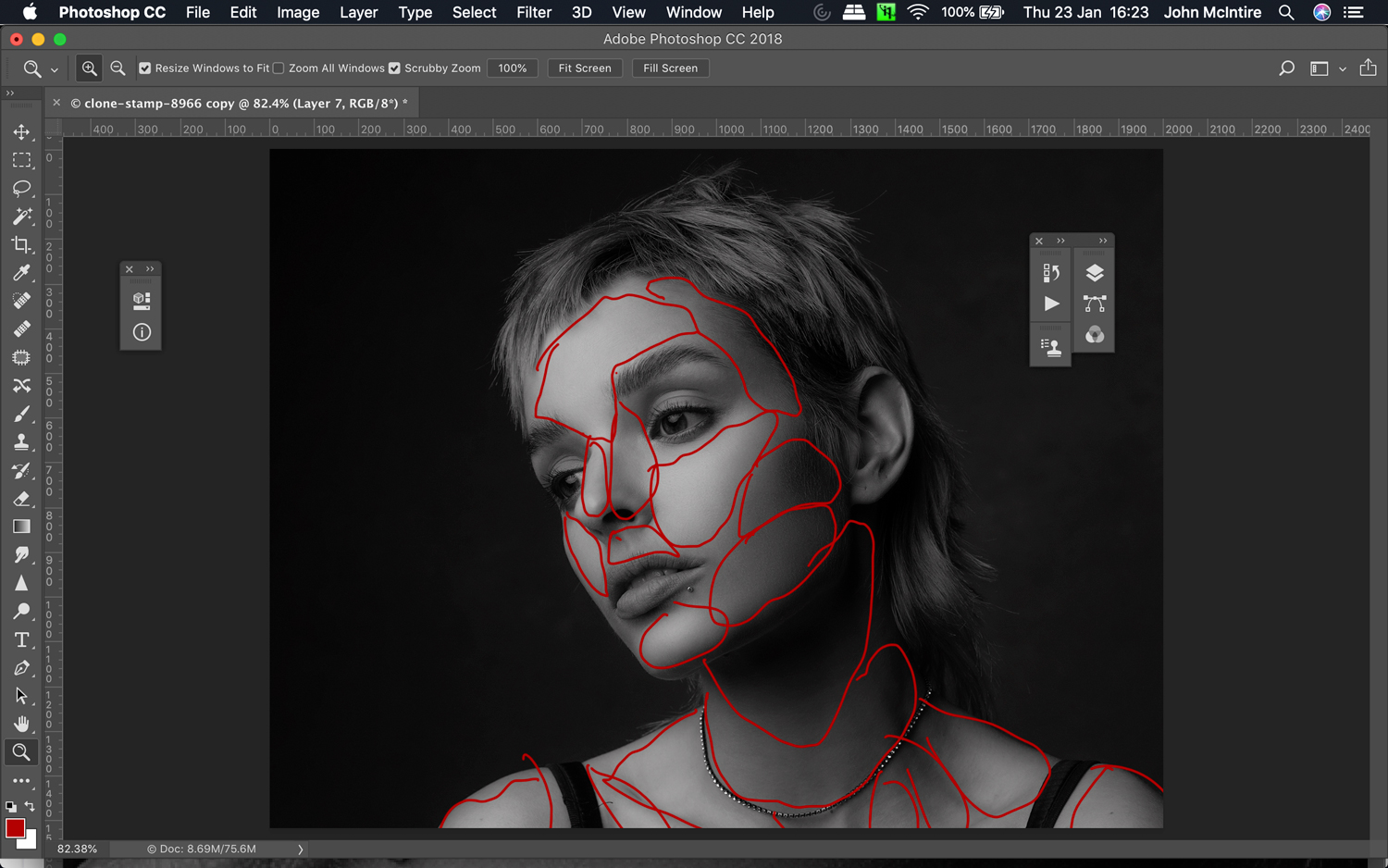 Using frequency separation for skin retouching in Photoshop.