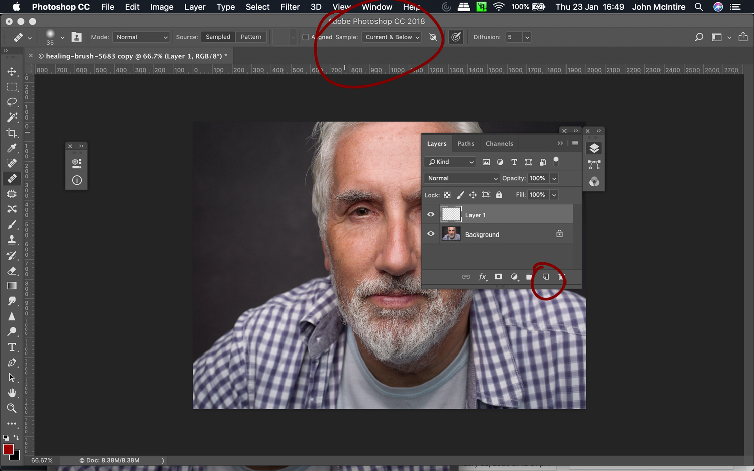 Using the healing brush for retouching skin in Photoshop.