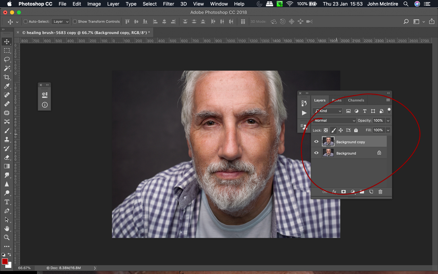 Image: The patch tool can't be used with an empty layer. Instead, duplicate your background la...