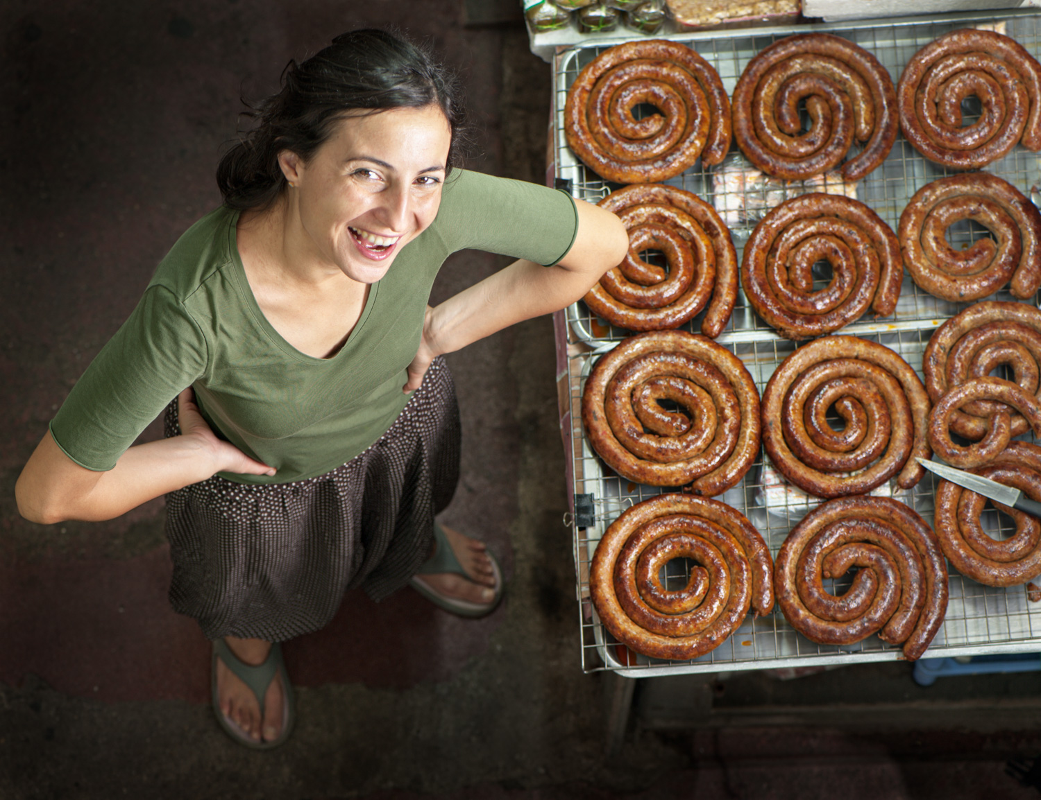 Woman with Northern Thai Sausage