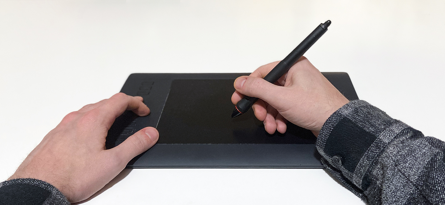 Using a graphics tablet for retouching photos.