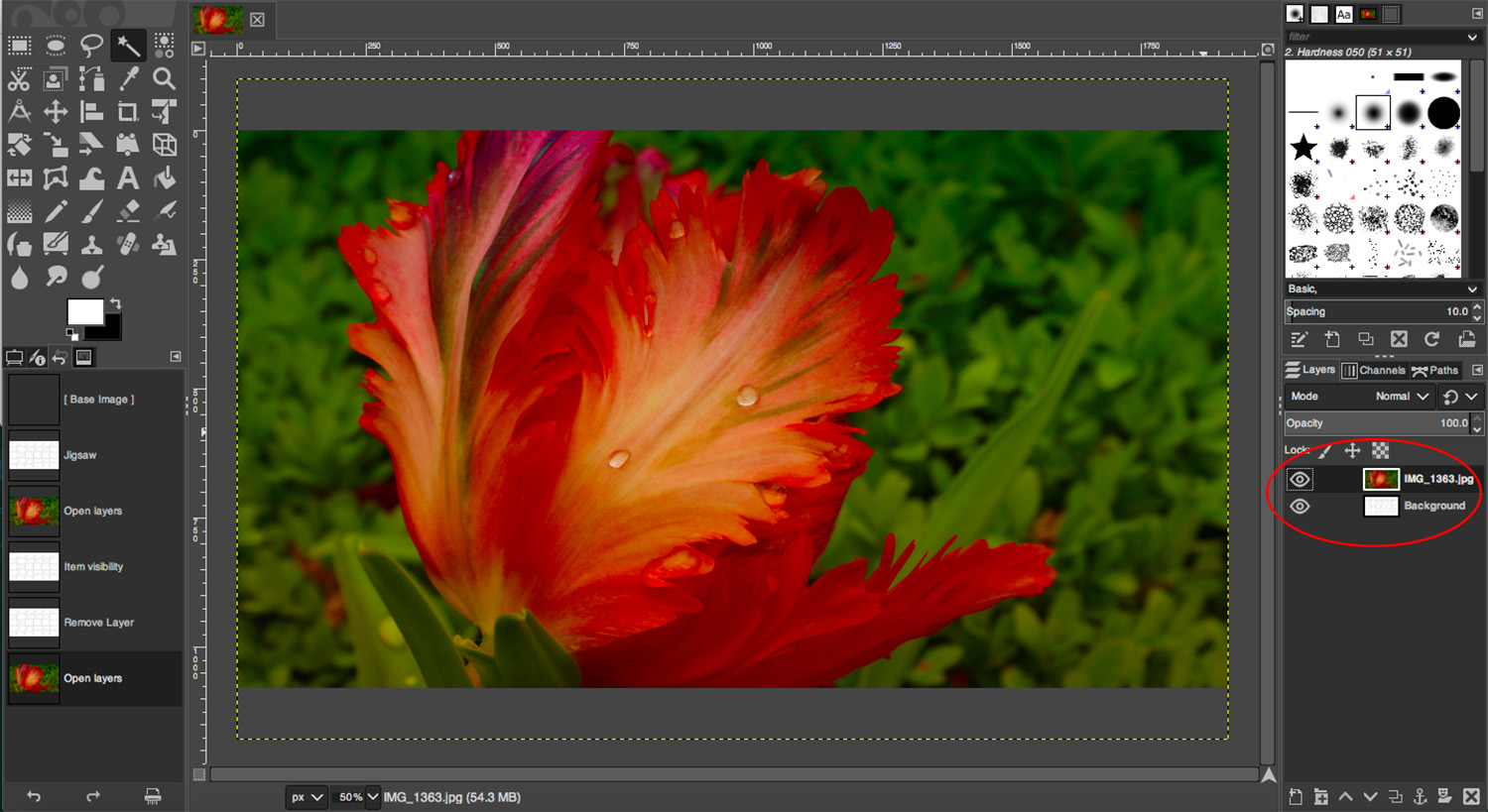 Open As Layer in GIMP