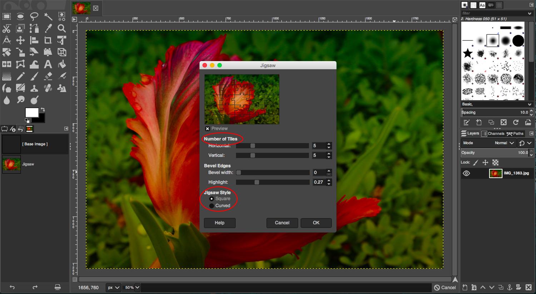 GIMPs Jigsaw pattern settings