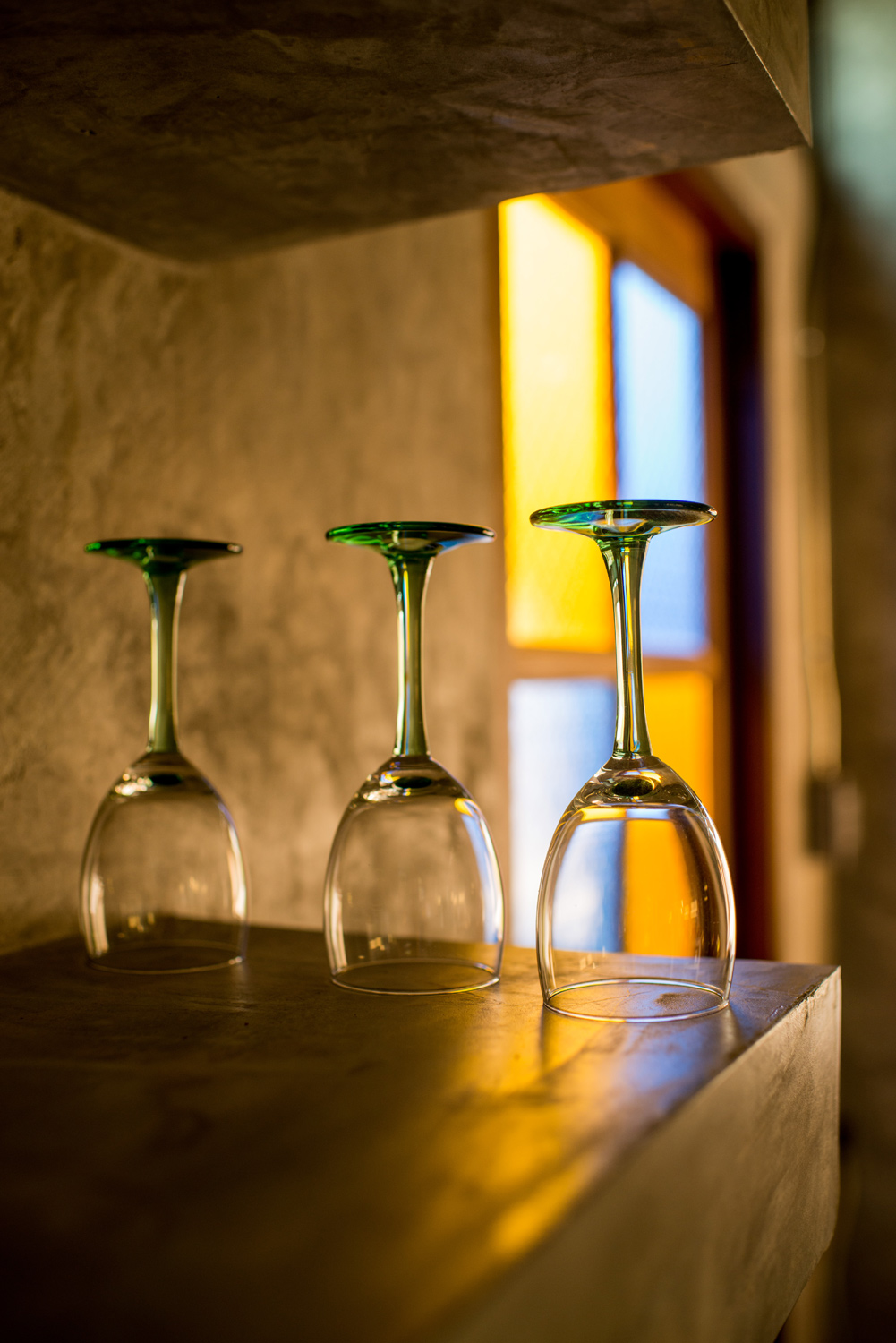 how to photograph ordinary things - unused wine glasses on a table