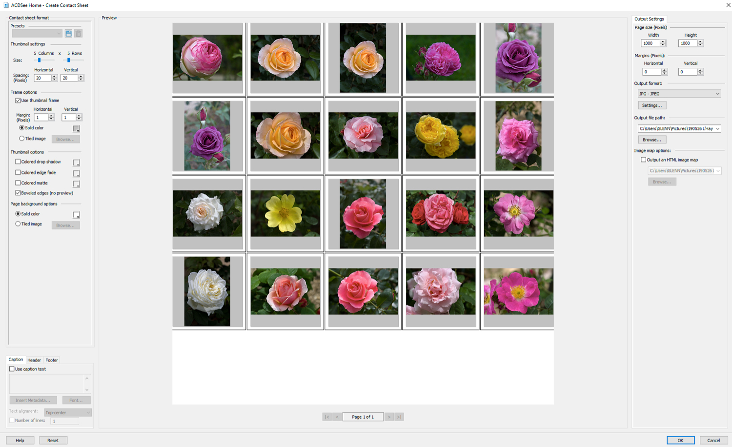 Creating a contact sheet in ACDSee Photo Studio Home 2020