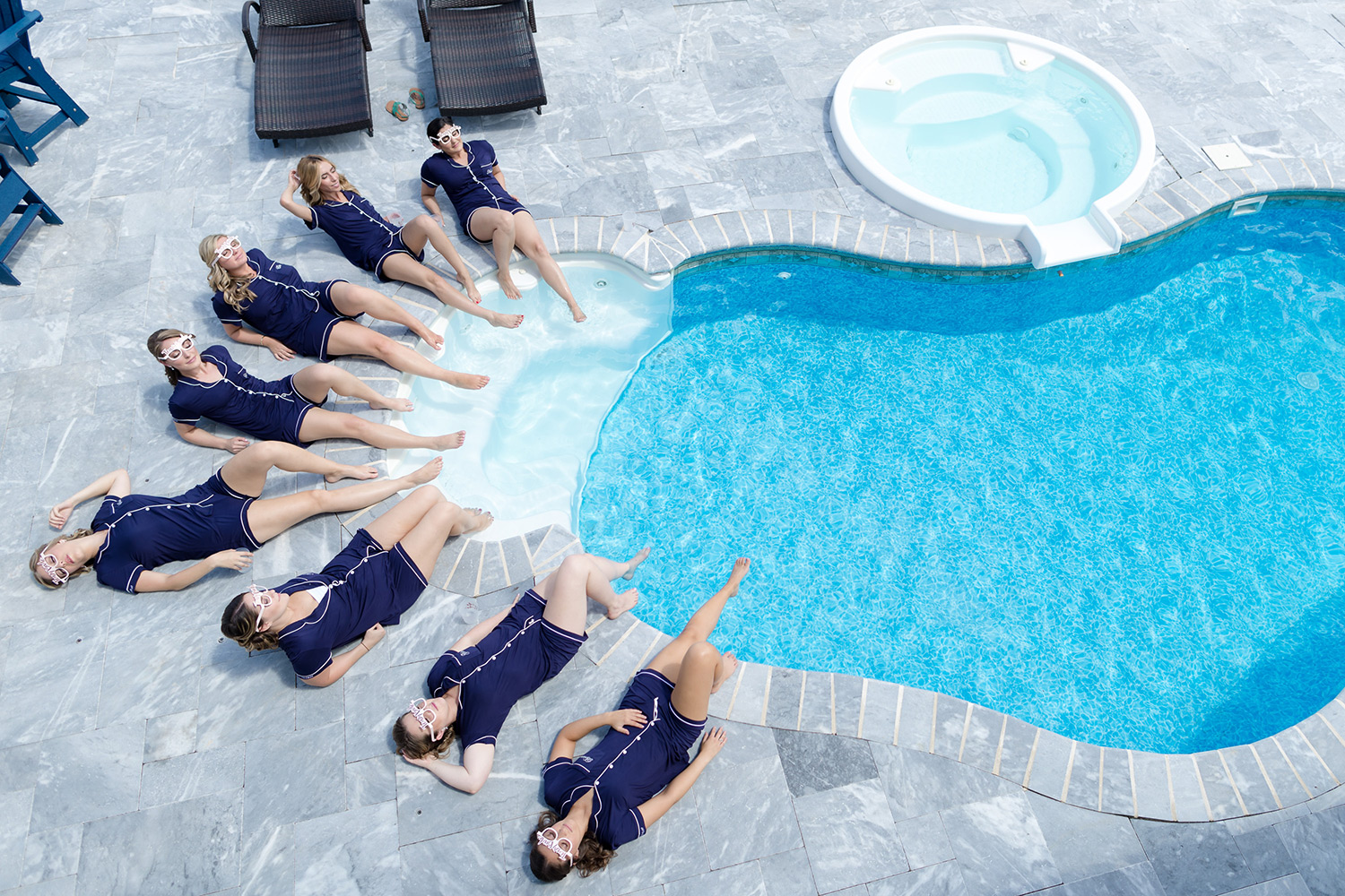 Canon Explorers of Light  – Q&A with Photographer Vanessa Joy. Women in a formation beside a pool shot from above.