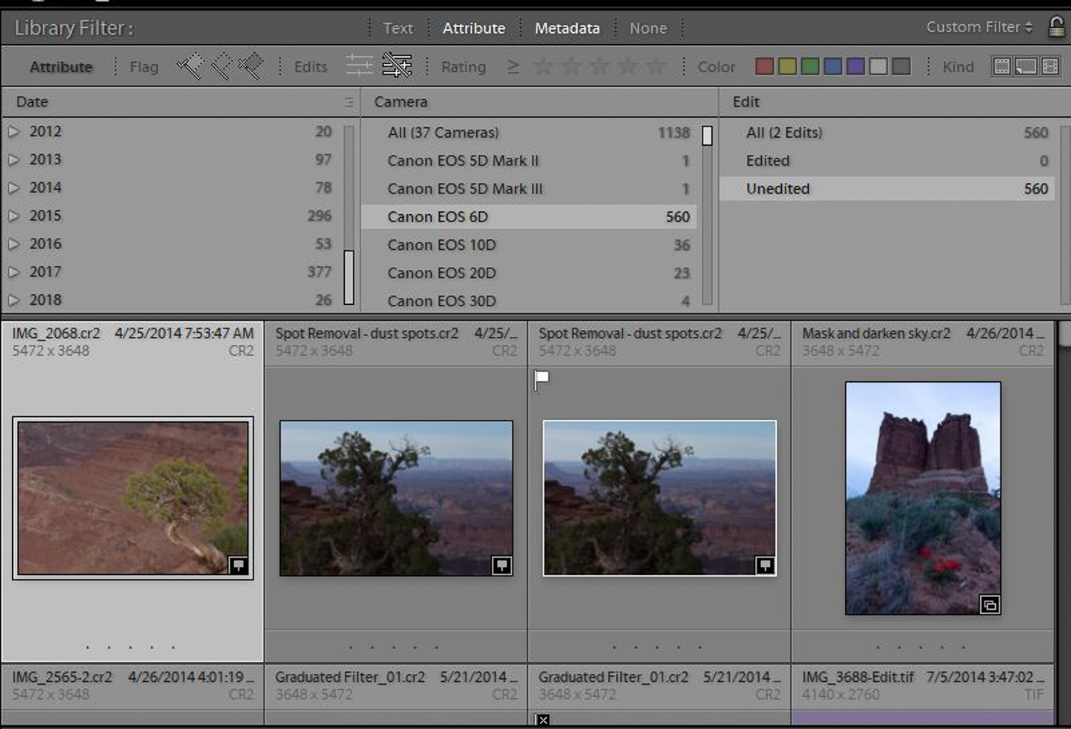 Use Lightroom to find photos.  Need to see all the images in your Library you've not edited?  Easy with the Lightroom Library filter.